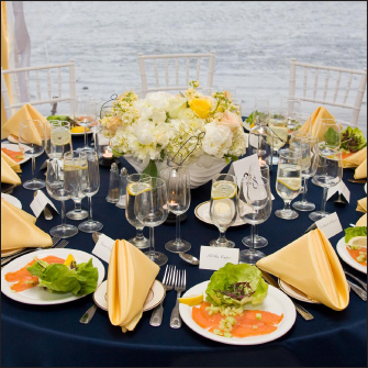 Elegant table setting for wedding reception