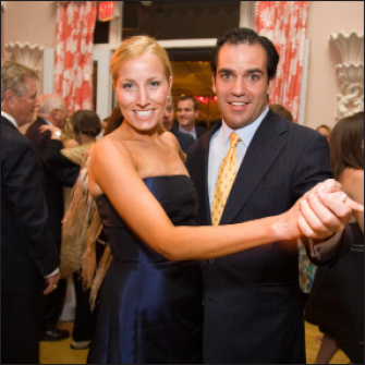 happy couple ballroom dancing