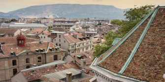 panoramic view of Geneva, Switzerland from Cathedral Saint Pierre; Shutterstock ID 69454222